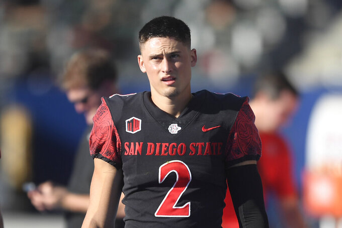 FILE - San Diego State place kicker Matt Araiza (2) plays during an NCAA football game against Utah in Carson, Calif., in this Saturday Sept. 18, 2021, file photo. Araiza was selected to The Associated Press Midseason All-America team, announced Tuesday, Oct. 19, 2021. (AP Photo/Denis Poroy, File)