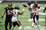 Chicago Bears strong safety Tashaun Gipson (38) celebrates his interception of Atlanta Falcons quarterback Matt Ryan during the second half of an NFL football game, Sunday, Sept. 27, 2020, in Atlanta. The Chicago Bears won 30-26. (AP Photo/Brynn Anderson)