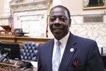 In this Jan, 23, 2020 photo, Talmadge Branch, of Baltimore, stands in the Maryland House of Delegates where he is the House majority whip in Annapolis, Md. Branch is one of 24 candidates in a special primary for the vacant congressional seat of Elijah Cummings, who died in October. (AP Photo/Brian Witte)