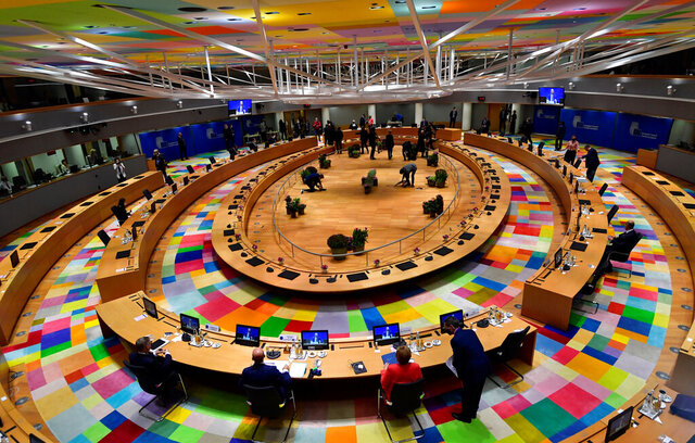 A general view of a round table meeting at an EU summit in Brussels, Friday, Oct. 2, 2020. European Union leaders will be assessing the state of their economy and the impact of the coronavirus pandemic on it during their final day of a summit meeting. (John Thys, Pool via AP)