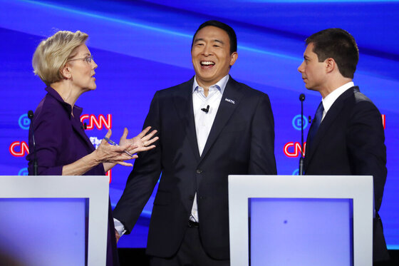 Andrew Yang, Elizabeth Warren, Pete Buttigieg