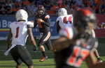 Oregon State starting quarterback Conor Blount looks for an open receiver against Southern Utah during an NCAA college football game Saturday, Sept. 8, 2018, in Corvallis, Ore. (Andy Cripe/The Corvallis Gazette-Times via AP)