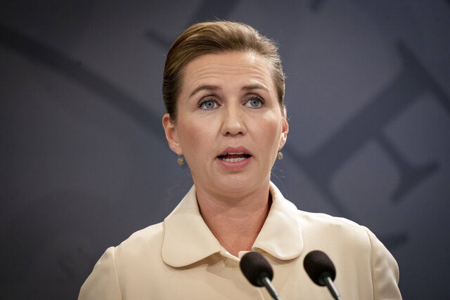 FILE  - In this Friday, May 29, 2020 file photo, Danish Prime Minister Mette Frederiksen speaks during a news conference in Copenhagen. Frederiksen is postponing her wedding next month because of a European Union summit on the future of the bloc's budget.  (Liselotte Sabroe/Ritzau Scanpix via AP, File)