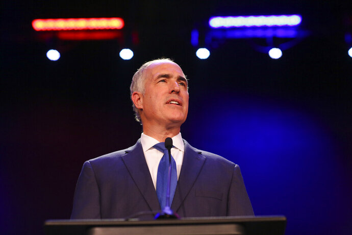 FILE - In this Nov. 6, 2018 file photo, U.S. Sen. Bob Casey, D-Pa., gives a victory speech during his election night party in Scranton, Pa. Casey is ending any consideration of joining a potentially crowded Democratic field running for president in 2020. Casey's statement Friday, Jan. 18, 2019, comes a couple months after he dropped hints that he was considering a run, fresh off easily winning a third term in the Senate.(Jake Danna Stevens/The Times-Tribune via AP, File)