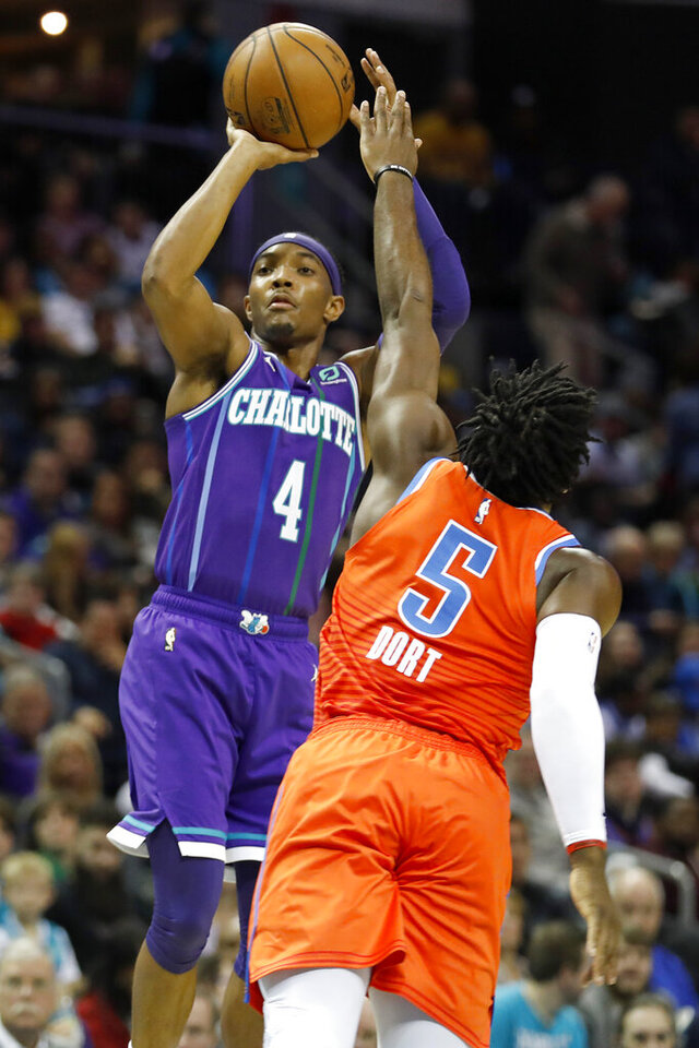 Charlotte Hornets' Devonte' Graham (4) aims his jumper as Oklahoma City Thunder's Luguentz Dort (5) defends during the first half of an NBA basketball game in Charlotte, N.C., Friday, Dec. 27, 2019. (AP Photo/Bob Leverone)