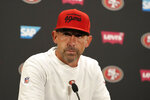 San Francisco 49ers head coach Kyle Shanahan speaks at a news conference after the Green Bay Packers defeated the 49ers in an NFL football game in Santa Clara, Calif., Sunday, Sept. 26, 2021. (AP Photo/Tony Avelar)