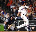 Houston Astros' Michael Brantley watches his RBI double during the seventh inning of the team's baseball game against the New York Yankees, Tuesday, April 9, 2019, in Houston. (AP Photo/Eric Christian Smith)