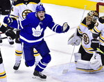 Toronto Maple Leafs left wing Andreas Johnsson (18) celebrates a goal against the Boston Bruins during the second period of an NHL playoff hockey game in Toronto on Monday, April 15, 2019. (Frank Gunn/The Canadian Press via AP)