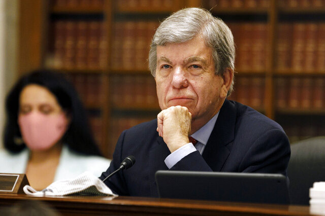 FILE - In this July 22, 2020, file photo Senate Rules and Administration Committee chairman Sen. Roy Blunt, R-Mo., listens to testimony about elections, on Capitol Hill in Washington. Senate Republican leaders are preparing a slimmed-down coronavirus relief package of roughly $500 billion that will include extended payments for unemployed people and smaller businesses, a GOP senator said Tuesday, Aug. 18. Blunt says it will include extended payments for unemployed people and for suffering smaller businesses and money for work aimed at combating the coronavirus. (AP Photo/Jacquelyn Martin, File)