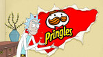 "This undated image provided by Pringles shows a scene from the company's 2020 Super Bowl NFL football spot which features characters from the ""Rick and Morty"" show. (Pringles via AP)"