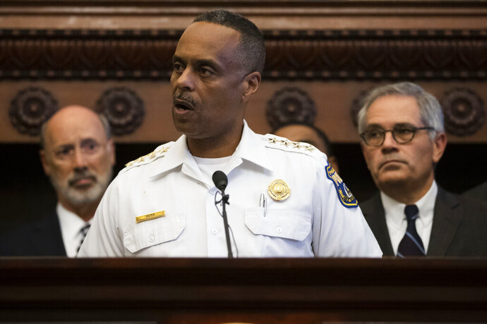 Philadelphia Police Commissioner Richard Ross speaks during a news conference at City Hall in Philadelphia, Thursday, Aug. 15, 2019. A gunman, identified as Maurice Hill, wounded six police officers before surrendering early Thursday, after a 7 ½-hour standoff.(AP Photo/Matt Rourke)