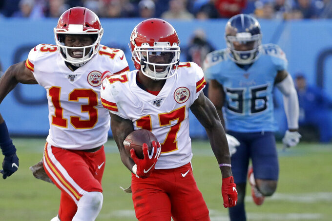 Kansas City Chiefs wide receiver Mecole Hardman (17) scores a touchdown on a 63-yard pass reception against the Tennessee Titans in the second half of an NFL football game Sunday, Nov. 10, 2019, in Nashville, Tenn. (AP Photo/James Kenney)