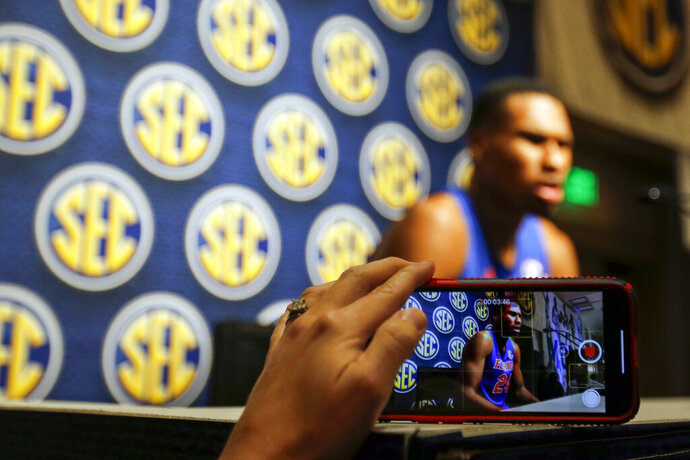Florida's Kerry Blackshear Jr speaks during the Southeastern Conference NCAA college basketball media day, Wednesday, Oct. 16, 2019, in Birmingham, Ala. (AP Photo/Butch Dill)
