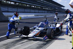 Takuma Sato, of Japan, leaves the pits during the Indianapolis 500 auto race at Indianapolis Motor Speedway, Sunday, Aug. 23, 2020, in Indianapolis. (AP Photo/Michael Conroy)
