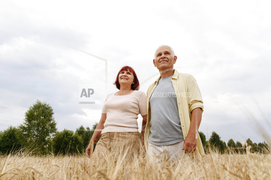Smiling senior couple standing in wheat field