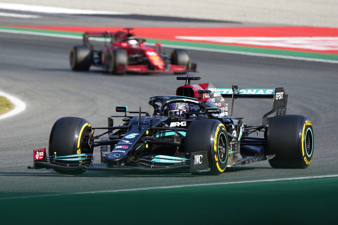 Mercedes driver Lewis Hamilton of Britain steers his car during the Sprint Race qualifying session at the Monza racetrack, in Monza, Italy , Saturday, Sept.11, 2021. The Formula one race will be held on Sunday. (AP Photo/Luca Bruno)
