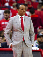 North Carolina State Head Coach Kevin Keatts looks towards the court in the final moments of an NCAA college basketball game against Virginia Tech in Raleigh, N.C., Saturday, Feb. 2, 2019. (AP Photo/Ben McKeown)
