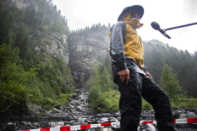 The Parlitobel canyon is pictured during an on-site visit in Vaettis, Switzerland, Thursday, August 13, 2020. Swiss authorities say three Spanish tourists on a canyoning tour have died and one is missing after a heavy storm. (Gian Ehrenzeller/Keystone via AP)