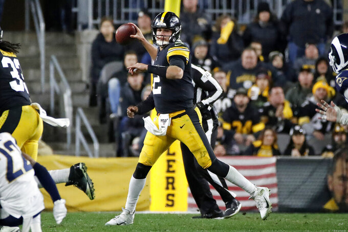 Pittsburgh Steelers quarterback Mason Rudolph (2) throws a pass during the second half of an NFL football game against the Los Angeles Rams in Pittsburgh, Sunday, Nov. 10, 2019. (AP Photo/Don Wright)