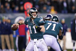 Philadelphia Eagles' Carson Wentz passes during the first half of an NFL wild-card playoff football game against the Seattle Seahawks, Sunday, Jan. 5, 2020, in Philadelphia. (AP Photo/Chris Szagola)