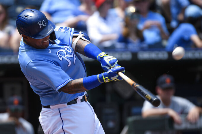 Kansas City Royals' Salvador Perez hits a two-run home run during the third inning of a baseball game against the Detroit Tigers in Kansas City, Mo., Wednesday, June 16, 2021. (AP Photo/Reed Hoffmann)
