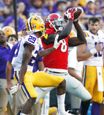 Georgia wide receiver Riley Ridley (8) makes a reception against LSU during an NCAA college football game Saturday, Oct. 13, 2018, in Baton Rouge, La. (Bob Andres/Atlanta Journal Constitution via AP)