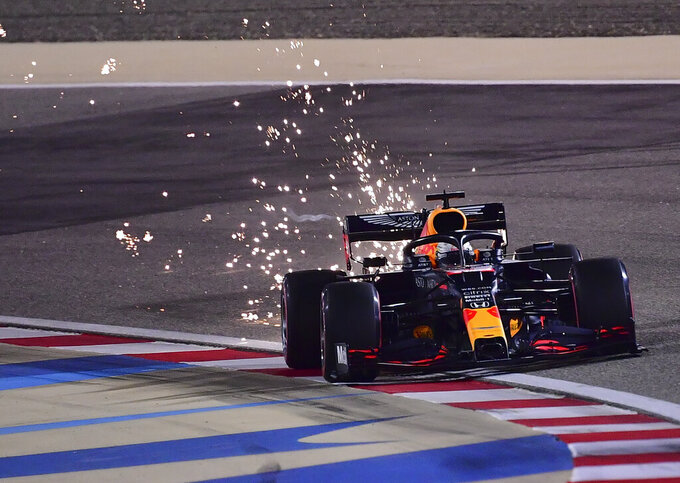 Red Bull driver Max Verstappen of the Netherlands in action during qualifying session at Formula One Bahrain Grand Prix in Sakhir, Bahrain, Saturday, Dec. 5, 2020. (Giuseppe Cacace, Pool via AP)