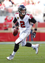 Atlanta Falcons quarterback Matt Ryan scrambles against the San Francisco 49ers during the first half of an NFL football game in Santa Clara, Calif., Sunday, Dec. 15, 2019. (AP Photo/Josie Lepe)