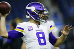 Minnesota Vikings quarterback Kirk Cousins throws during pregame of an NFL football game against the Detroit Lions, Sunday, Oct. 20, 2019, in Detroit. (AP Photo/Duane Burleson)
