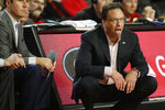 Georgia coach Tom Crean reacts during the team's NCAA college basketball game against Missouri on Wednesday, March 6, 2019, in Athens, Ga. (Joshua L. Jones/Athens Banner-Herald via AP)