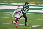 New York Jets' Breshad Perriman, right, catches a touchdown in front of New England Patriots' J.C. Jackson during the first half of an NFL football game, Monday, Nov. 9, 2020, in East Rutherford, N.J. (AP Photo/Corey Sipkin)