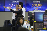 Currency traders gesture at the foreign exchange dealing room of the KEB Hana Bank headquarters in Seoul, South Korea, Thursday, Oct. 24, 2019. Asian shares were mixed on Thursday after U.S. stock indexes eked out tiny gains in a wobbly day of trading as investors reviewed another set of mixed company earnings. (AP Photo/Ahn Young-joon)