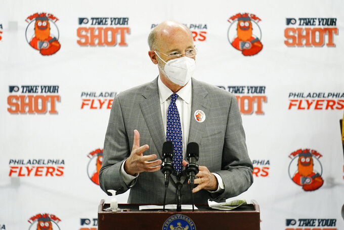 Pennsylvania Gov. Tom Wolf speaks during a news conference encouraging people to get the COVID-19 vaccine, in Philadelphia, Monday, May 3, 2021. (AP Photo/Matt Rourke)