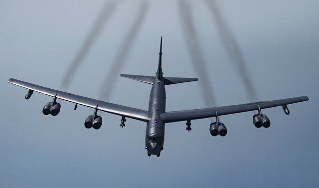 FILE - In this May 21, 2019 photo provided by the U.S. Air Force, a U.S. B-52H Stratofortress, prepares to fly over Southwest Asia.  Two American bomber aircraft have flown over a swath of the Middle East, sending what U.S. officials say is a message of deterrence to Iran. The flight of the two massive B-52H Stratofortress bombers over the region on Thursday was the second such mission in less than a month. It was designed to underscore America's continuing commitment to the Middle East even as President Donald Trump's administration withdraws thousands of troops from Iraq and Afghanistan.  (Senior Airman Keifer Bowes/U.S. Air Force via AP)