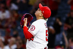 Los Angeles Angels pitcher Jose Suarez reacts after the Angels defeated the Texas Rangers during a baseball game in Anaheim, Calif., Saturday, Sept. 4, 2021. (AP Photo/Ringo H.W. Chiu)