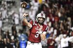 South Carolina quarterback Ryan Hilinski (3) passes during the first half of an NCAA college football game against Vanderbilt, Saturday, Nov. 2, 2019, in Columbia, S.C. (AP Photo/Sean Rayford)