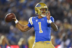 UCLA quarterback Dorian Thompson-Robinson throws a pass during the first half of an NCAA college football game against Colorado in Los Angeles, Saturday, Nov. 2, 2019. (AP Photo/Kelvin Kuo)