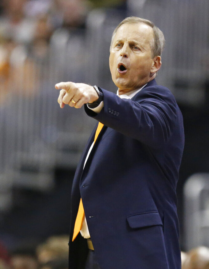 Tennessee head coach Rick Barnes yells instructions to players in the first half against Colgate during a first round men's college basketball game in the NCAA Tournament in Columbus, Ohio, Friday, March 22, 2019. (AP Photo/Paul Vernon)