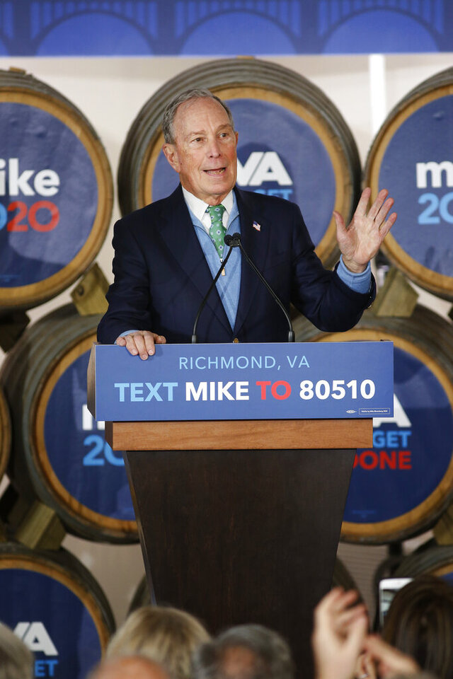 Democratic presidential candidate Mike Bloomberg speaks during a campaign event at Hardywood Park Craft Brewery in Richmond, Va., Saturday, Feb. 15, 2020. (James H. Wallace/Richmond Times-Dispatch via AP)