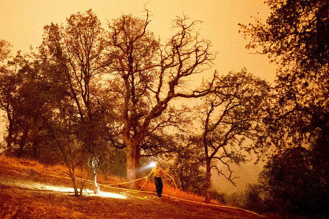 A firefighter lays hose around the Foothills Visitor Center while battling the KNP Complex Fire in Sequoia National Park, Calif., on Tuesday, Sept. 14, 2021. The blaze is burning near the Giant Forest, home to more than 2,000 giant sequoias. (AP Photo/Noah Berger)