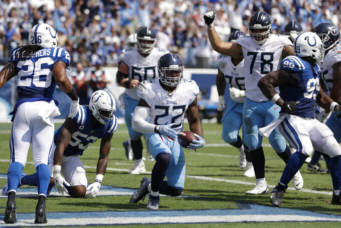 Tennessee Titans running back Derrick Henry (22) scores a touchdown against the Indianapolis Colts in the second half of an NFL football game Sunday, Sept. 15, 2019, in Nashville, Tenn. (AP Photo/James Kenney)