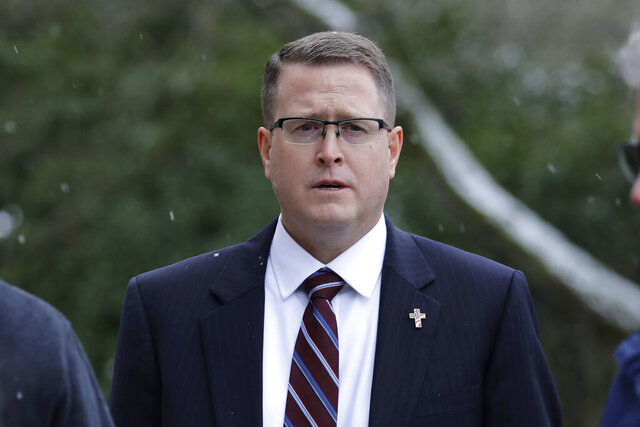 FILE - This Jan. 15, 2020, file photo shows Rep. Matt Shea, R-Spokane Valley, during a rally held by
