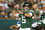New York Jets quarterback Davis Webb (5) throws a pass during the second half of a preseason NFL football game against the Philadelphia Eagles, Thursday, Aug. 29, 2019, in East Rutherford, N.J. (AP Photo/Jim McIsaac)