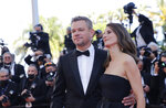 Matt Damon, left, and Camille Cottin pose for photographers upon arrival at the premiere of the film 'Stillwater' at the 74th international film festival, Cannes, southern France, Thursday, July 8, 2021. (Photo by Vianney Le Caer/Invision/AP)