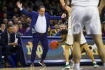 Notre Dame coach Mike Brey tries to avoid Florida State's M.J. Walker, with ball, and Notre Dame's Dane Goodwin during the first half of an NCAA college basketball game Wednesday, March 4, 2020, in South Bend, Ind. (AP Photo/Robert Franklin)