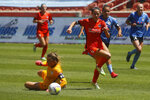 Houston Dash's Shea Groom (6) beats Chicago Red Stars goalkeeper Alyssa Naeher, left, before scoring during the second half of an NWSL Challenge Cup soccer finals match Sunday, July 26, 2020, in Sandy, Utah. (AP Photo/Rick Bowmer)