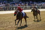 Letruska, with jockey Jose Ortiz up, crosses the finish line to win the 53rd running of the Ogden Phipps, Saturday, June 5, 2021, at Belmont Park in Elmont, N.Y. (AP Photo/Seth Wenig)