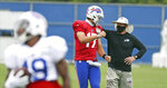Buffalo Bills head coach Sean McDermott talks to Buffalo Bills quarterback Josh Allen (17) during an NFL football training camp in Orchard Park, N.Y., Tuesday, Aug. 25, 2020. (James P. McCoy/Buffalo News via AP, Pool)