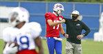 Buffalo Bills head coach Sean McDermott talks to Buffalo Bills quarterback Josh Allen (17) during an NFL football training camp in Orchard Park, N.Y., Tuesday, Aug. 25, 2020. (James P. McCoy/Buffalo News via AP, Pool)
