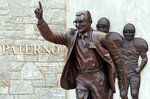 "File-This July 12, 2020, shows the statue of former Penn State University head football coach Joe Paterno outside Beaver Stadium. Though the statue has been taken down, Penn State and the family of Paterno announced Friday, Feb. 21, 2020, they had resolved ""the outstanding issues"" that divided them, eight years after he was fired after Jerry Sandusky's child molestation arrest. The university and Paterno's widow, Sue Paterno, both issued statements that Penn State had agreed to pay ""certain of the Paterno family's expenses"" and wished to move forward. The amount was not disclosed. (AP Photo/Gene J. Puskar, File)"
